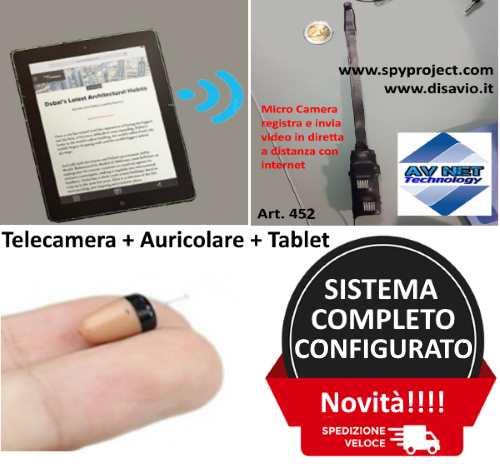 kit completo telecamera e auricolare tablet