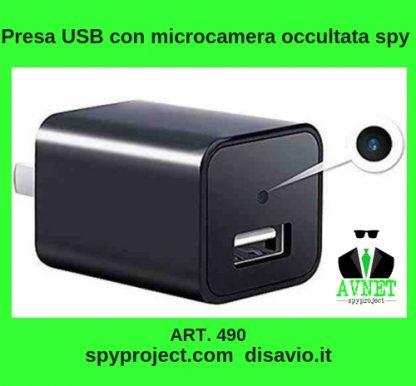 Presa USB con microcamera occultata spy